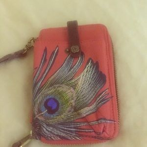 Leather peacock wristlet